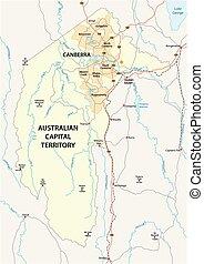 kaart, australiër, gebied, canberra, hoofdstad