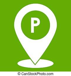 kaart, auto, meldingsbord, groene, parkeren, wijzer, pictogram