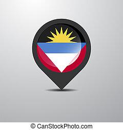 kaart, barbuda, antigua, spelden