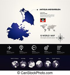 kaart, barbuda, vector, antigua