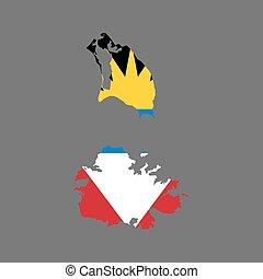 kaart, barbuda, vlag, antigua