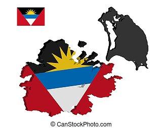 kaart, barbuda, vlag, vector, antigua
