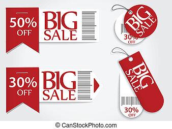 kaart, bevordering, verkoop, percentage, rood