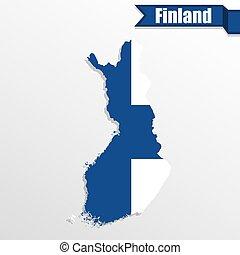 kaart, binnen, finland vlag, lint