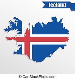kaart, binnen, vlag, lint, ijsland