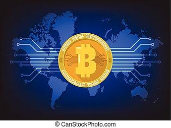 kaart, bitcoin, cryptocurrency, achtergrond, digitale wereld