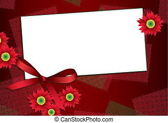 kaart, bloemen, lint, cadeau