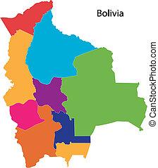 kaart, bolivia, kleurrijke
