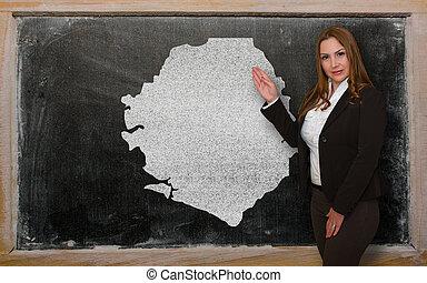 kaart, bord, het tonen, sierra, leraar, leone