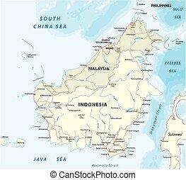 kaart, borneo eiland, vector, kalimantan, 2, straat