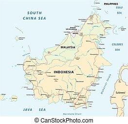 kaart, borneo eiland, vector, kalimantan, straat