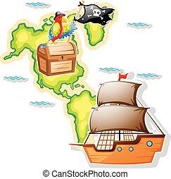 kaart, borst, schat, scheeps , zeerover