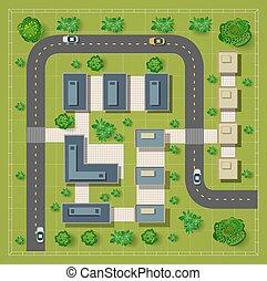 kaart, bovenzijde, rooftops, aanzicht