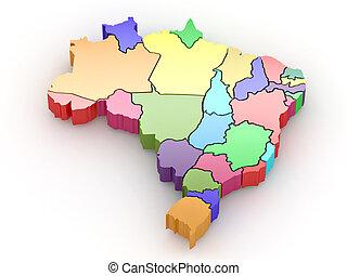kaart, brazil., driedimensionaal, 3d