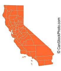kaart, californië