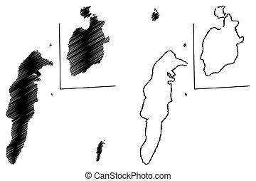 kaart, catalina, san andres, providencia, archipel, vector,...