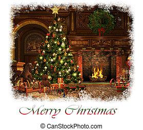 kaart, cg, kerstmis, vrolijk, 3d