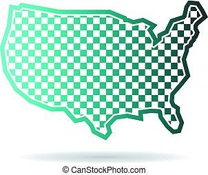kaart, checkered, illustratie, staten, verenigd, logo