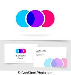 kaart, cirkels, zakelijk, element, vector, abstract ontwerp, modieus, mockup, kleurrijke, bezoeken, logotype, gedaantes, drie, moderne, mal