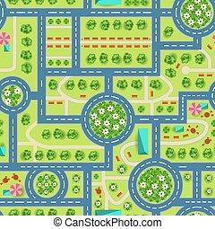 kaart, city., model, bovenzijde, seamless, bomen, straat, aanzicht
