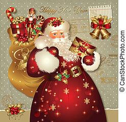 kaart, claus, kerstmis, kerstman