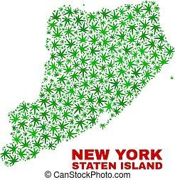 kaart, collage, eiland, bladeren, staten, marihuana