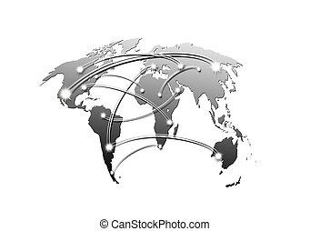 kaart, concept, handel reis, wereld, interconnected