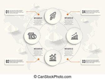 kaart, concept, illustratie, vector, ontwerp, infographics, wereld, geometrisch, template.