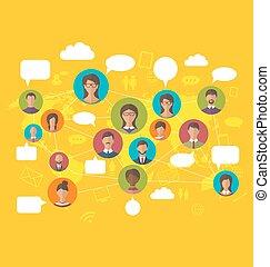 kaart, concept, netwerk, mensen, iconen, avatars, sociaal, wereld