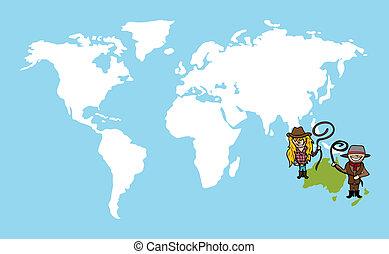 kaart, concept, verscheidenheid, mensen, wereld, australiër