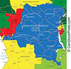 kaart, congo, republiek, democratisch