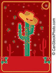 kaart, cowboy, kerstmis, rood, tekst