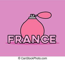 kaart, cultuur, fles, geur, frankrijk