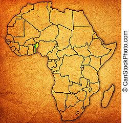 kaart, daadwerkelijk, afrika, benin