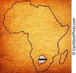 kaart, daadwerkelijk, botswana, afrika