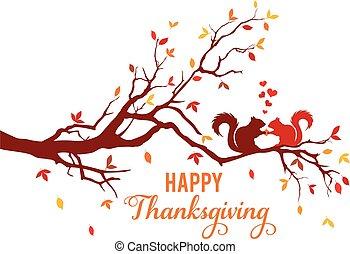 kaart, dankzegging, bladeren, het vallen, vector, boom eekhoorns, herfst