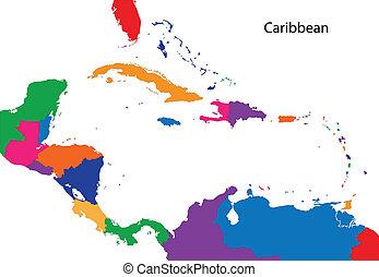 kaart, de caraïben, kleurrijke