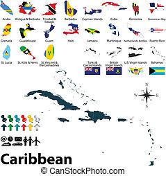 kaart, de caraïben, politiek