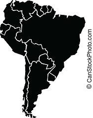 kaart, dik, amerika, zuiden