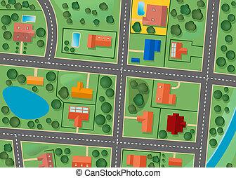 kaart, district, voorstad