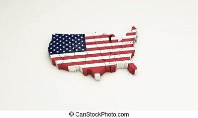 kaart, driedimensionaal, democracy., 6, land, usa.
