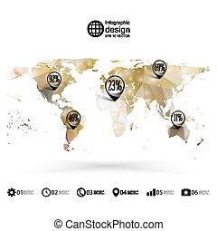 kaart, driehoek, illustratie, vector, infographics, wereld, ontwerp, mal