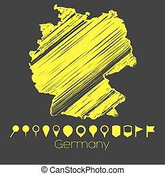 kaart, duitsland, land