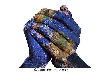 kaart, (earth, gemeubileerd, nasa), handen, wereld, jouw