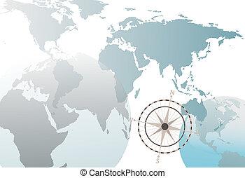 kaart, ===earth, globe, kompas, wereld, witte , abstract