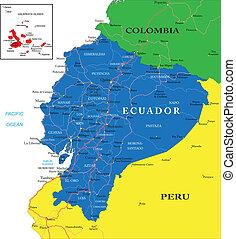 kaart, ecuador