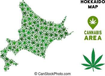 kaart, eiland, cannabis, vector, hokkaido, mozaïek