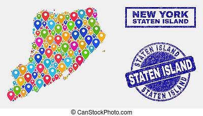 kaart, eiland, staten, postzegels, textured, spelden,...