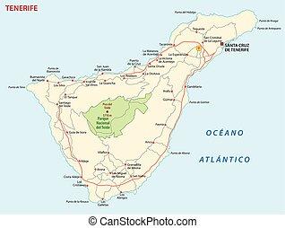 kaart, eiland, tenerife, vector, kanarie, straat