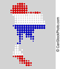 kaart, en, vlag, van, thailand